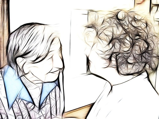 dibujo de cuidador con un enfermo de Alzheimer